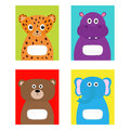 Notebook cover Jaguar, hippopotamus, elephant, bear. Zoo animal face body. Cute cartoon character set Baby children education. Fla Royalty Free Stock Photo
