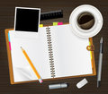 Notebook and cup of coffee Royalty Free Stock Images