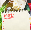 Notebook with diet plan against food supermarket Royalty Free Stock Photos