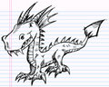 Notebook Doodle Sketch Dragon Vector Art Stock Photography