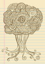 Notebook Doodle Sketch Henna Tree Vector Royalty Free Stock Photos