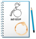 A notebook with a drawing of a boy doing aerobics illustration on white background Stock Photography