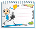 A notebook with a drawing of a boy holding an envelope illustration on white background Royalty Free Stock Images
