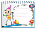A notebook with a drawing of a boy with a party hat illustration on white background Royalty Free Stock Photography