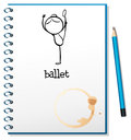 A notebook with a drawing of a girl dancing ballet illustration on white background Royalty Free Stock Images