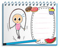 A notebook with a drawing of a girl playing with the jumping rop illustration rope on white background Royalty Free Stock Images