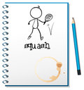 A notebook with a drawing of a person playing table tennis illustration on white background Stock Photo