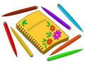 Notebook with flowers and felt-tip pens Royalty Free Stock Photo