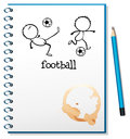A notebook with a football design illustration of on white background Stock Photography