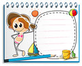 A notebook with an image of a girl ready for summer illustration on white background Royalty Free Stock Photography