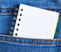 Notebook in jeans poket Royalty Free Stock Photography