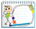 A notebook with a kid dancing at the cover page illustration of on white background Royalty Free Stock Image