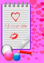 Notebook with love messages. vector eps10. Royalty Free Stock Image