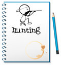 A notebook with a man hunting at the cover page illustration of on white background Stock Image