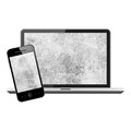 Notebook and mobile phone isolated on white background Royalty Free Stock Photos