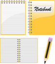 Notebook, notepad and pencil Stock Image