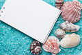 Notebook over blue bath salt and seashells Stock Image