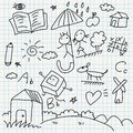Notebook paper doodles Stock Images