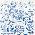 Notebook paper doodles with crocodile Royalty Free Stock Image
