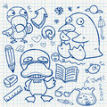 Notebook paper doodles set of Stock Photography