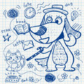 Notebook paper doodles set of Royalty Free Stock Images