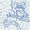Notebook paper doodles set of with owl Royalty Free Stock Photography
