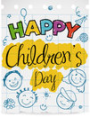 Notebook Paper with Doodles to Celebrate Children`s Day, Vector Illustration