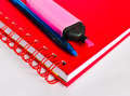 Notebook and pen red blue Royalty Free Stock Photos