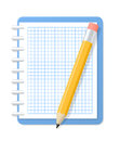 Notebook and pencil blank checkered vector illustration Stock Photography