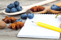 Notebook and pencil with ingredients food on wooden table Royalty Free Stock Photography