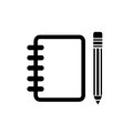 Notebook with pencil vector icon