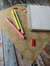 notebook, pens, pencils, ruler on the table Royalty Free Stock Photo