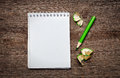 Notebook with pensil on wooden background Stock Image