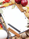 Notebook for recipes and spices Royalty Free Stock Images