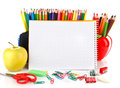 Notebook with school stationary objects