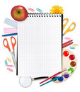 Notebook with school supplies. Royalty Free Stock Image