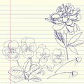 Notebook set with peony and pansy Stock Photography
