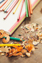 Notebook and sharpened colour pencils pencil shavings a Stock Images