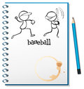 A notebook with a sketch of the baseball players illustration on white background Royalty Free Stock Image
