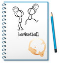 A notebook with a sketch of the basketball players illustration on white background Royalty Free Stock Images