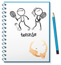 A notebook with a sketch of a boy and a girl playing tennis illustration on white background Royalty Free Stock Photo