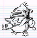 Notebook Sketch Doodle Penguin Commando Royalty Free Stock Images