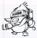 Notebook Sketch Doodle Penguin Commando