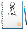 A notebook with a sketch of a football athlete illustration on white background Stock Images