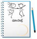 A notebook with a sketch of a girl and a boy dancing illustration on white background Stock Photo