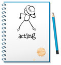 A notebook with a sketch of a person acting at the cover page illustration on white background Royalty Free Stock Photo