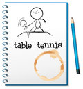 A notebook with a sketch of a person playing table tennis illustrtaion on white background Stock Images