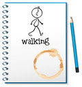 A notebook with a sketch of a person walking at the cover page illustration on white background Royalty Free Stock Photos