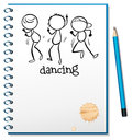 A notebook with a sketch of three people dancing illustration on white background Royalty Free Stock Image