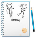 A notebook with a sketch of two people skating Royalty Free Stock Photo
